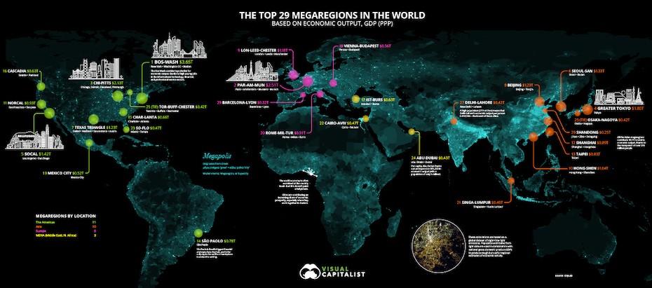 A világ 29 megarégiójának fényáradatát mutatja be az ábra egy műholdas felvétel segítségével, amit a Visual Capitalist készített