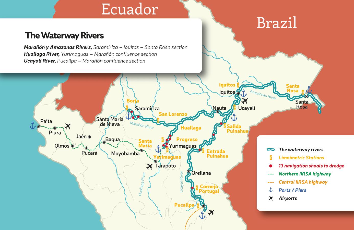 Az Amazonas folyó jelenleg hajózható víziútjai, ami hamarosan tovább bővülhet a perui szakaszon.
