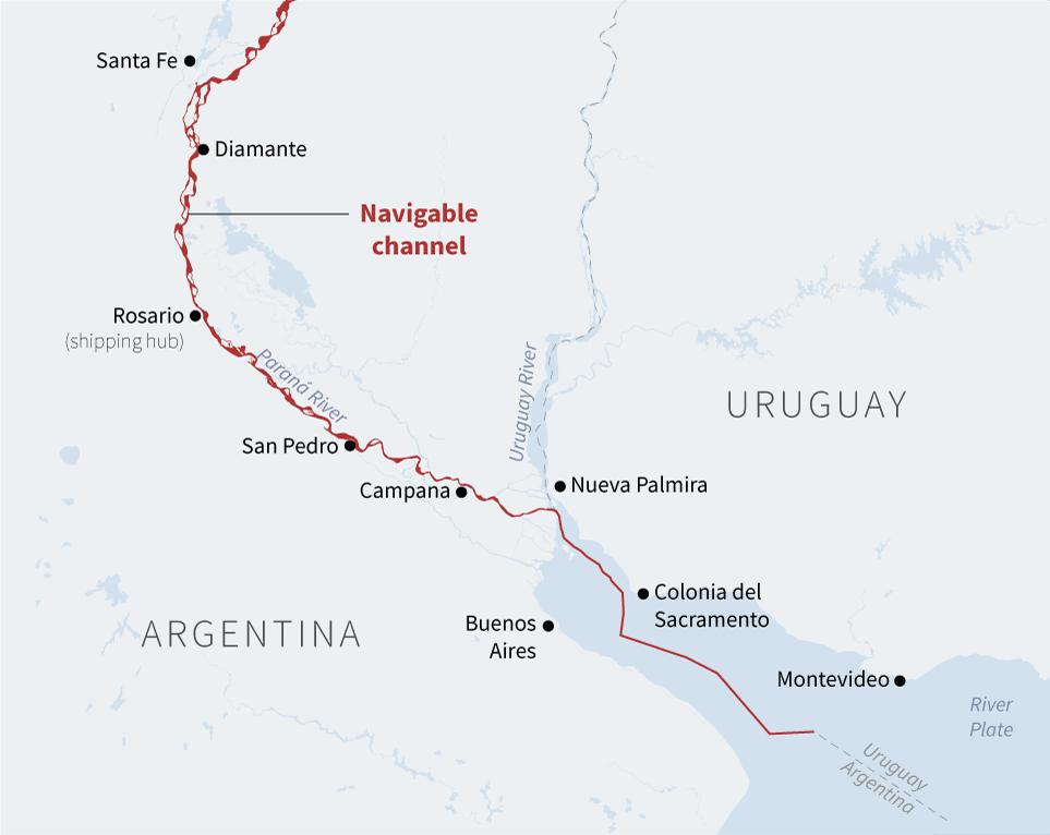 Az argentínai Paraná folyó hajózható vízi útja, mely agrárszempontból egy nagy stratégiai előnye lehet a dél-amerikai országnak.
