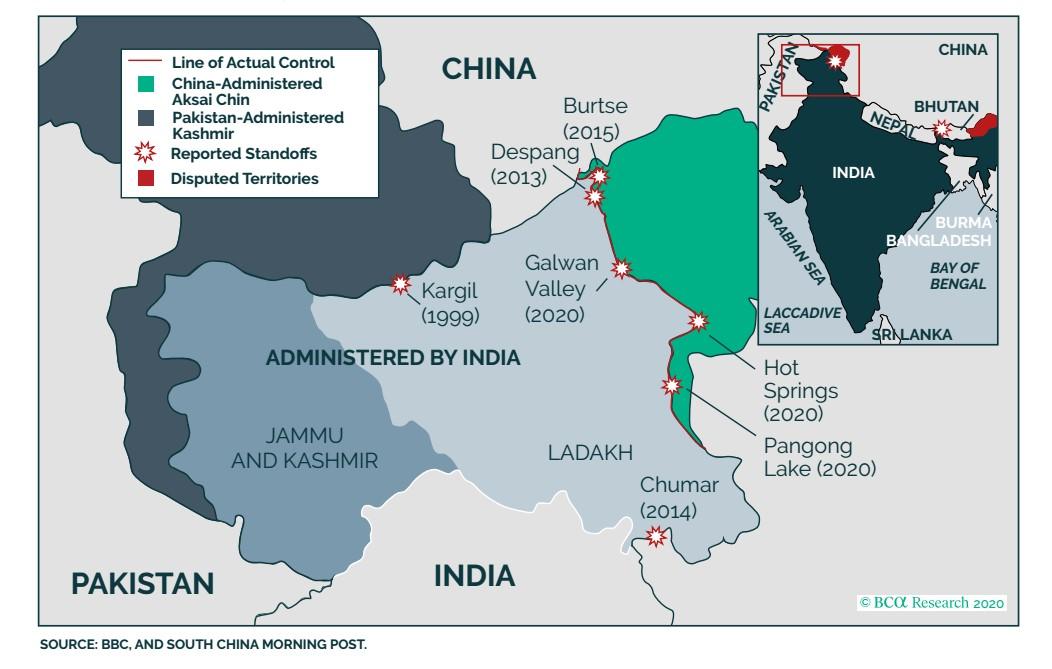 India és Kína vitatott hovatartozású területeit mutató ábra.