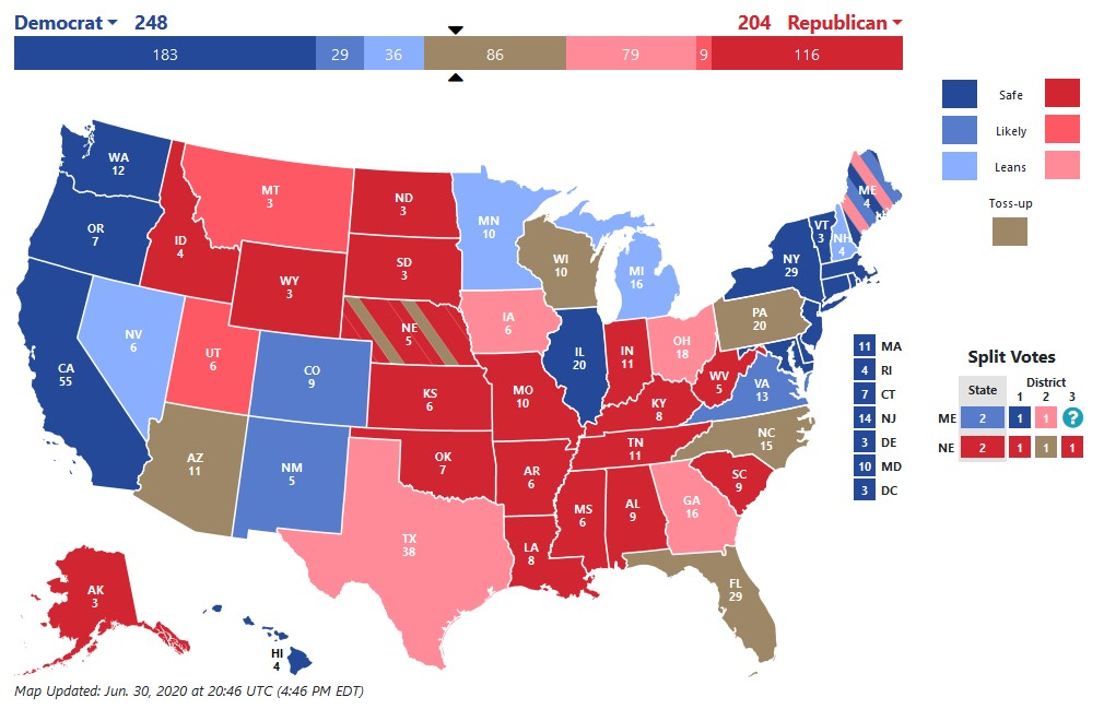 Az USA államainak ábrája a demokrata és republikánus beállítottságot illusztrálva.