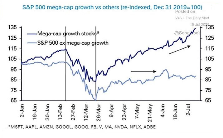 Az S&P 500 indexben szereplő tíz óriás-kapitalizációjú növekedési részvénye és a fennmaradók árfolyamának összehasonlítása.