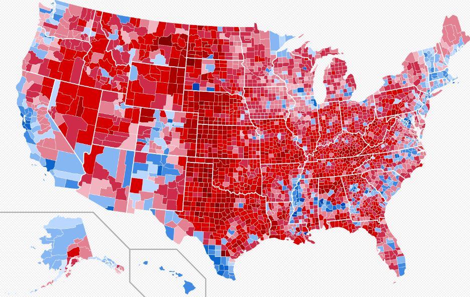 Amerika térképe az 2016-os elnökválasztáskor megyékre bontva, mely az utóbbi 40 évben jelentősen megváltozott.