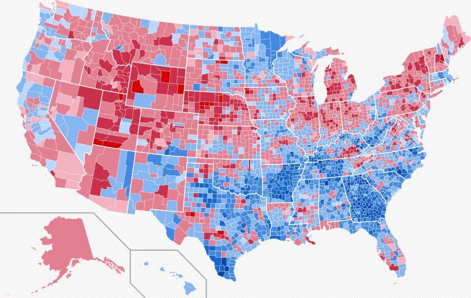 Az USA térképe az 1976-os amerikai elnökválasztásról megyei bontásban, melyen látható, hogy az elmúlt 40 évben micsoda átalakulás történt.