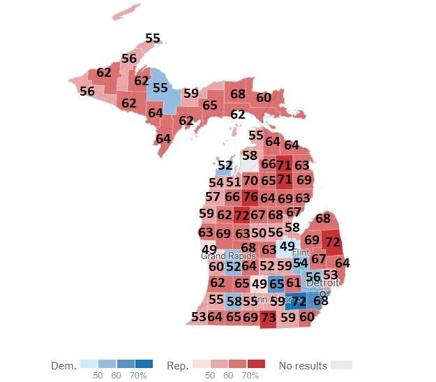 Michigan állam megyékre lebontott térképe a 2020-as elnökválasztás idején ahol a demokrata részek kékkel vannak jelölve