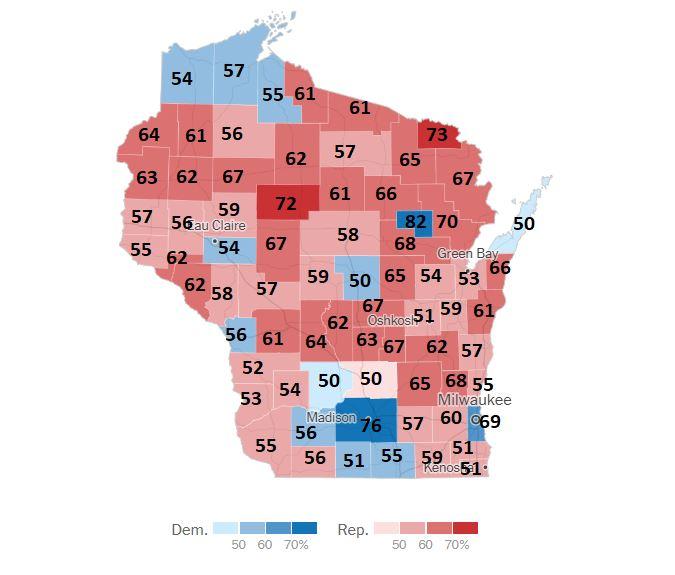 Wisconsin állam a 2020-as elnökválasztáson elért eredmények alapján megyei lebontásban.