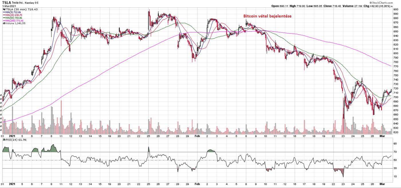 A Tesla árának alakulása kiemelve a bitcoin befektetésük időpontját, ahol láthatóan esni kezdett az árfolyam