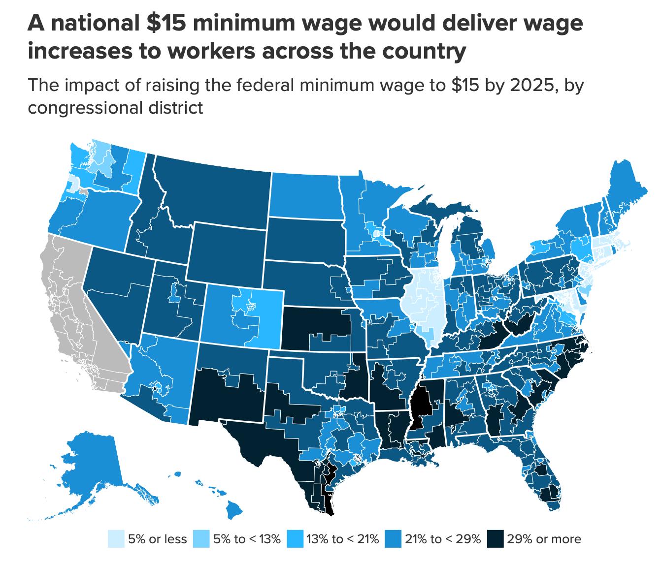 A 15 dolláros szövetségi minimálbéremelés várható hatásai államonként