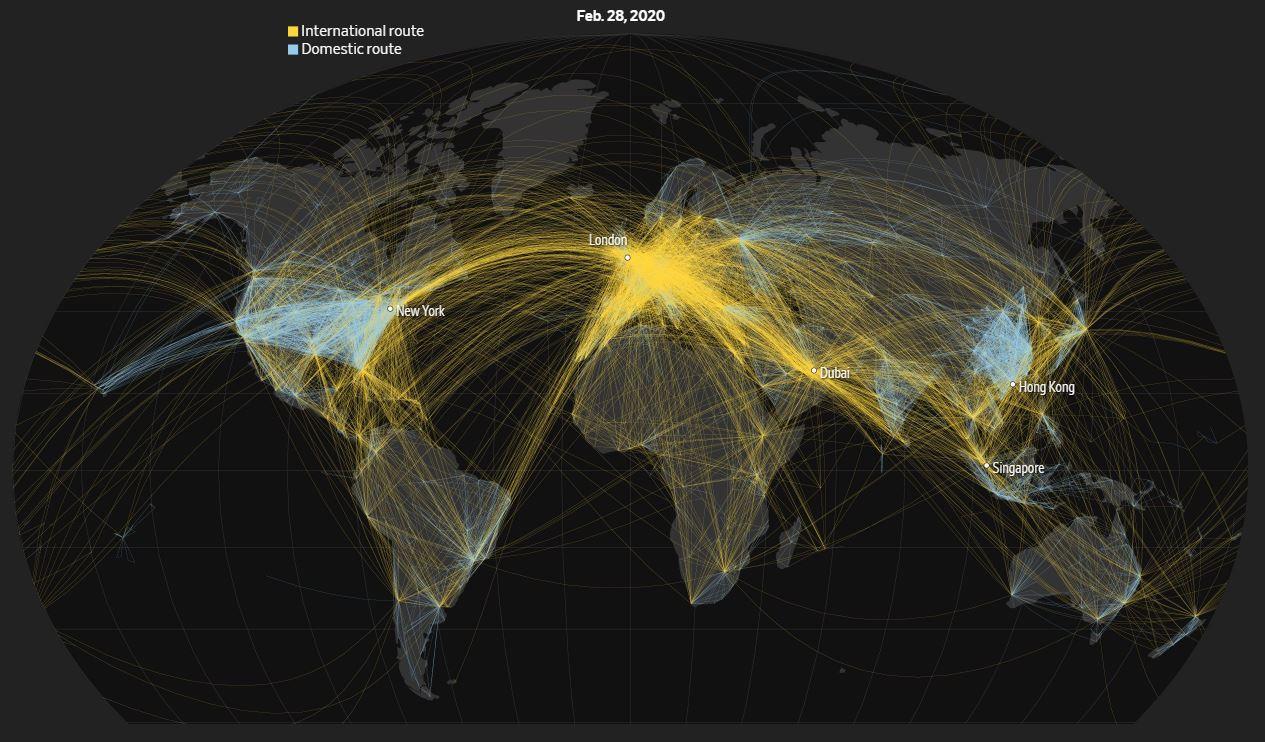 A 2020 február 28-i repülések ábrája a világban, ahol a sárga vonalak jelzik a nemzetközi, míg kék vonalak a belföldi járatokat