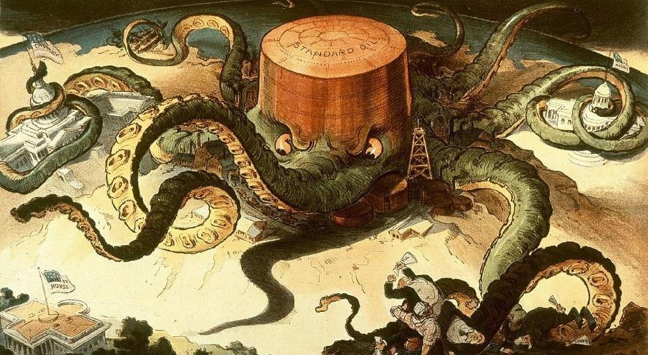 A Standard Oil társadalmi megítélését jellemzi a korabeli karikatúra, amely amerikai polipként ábrázolja a céget